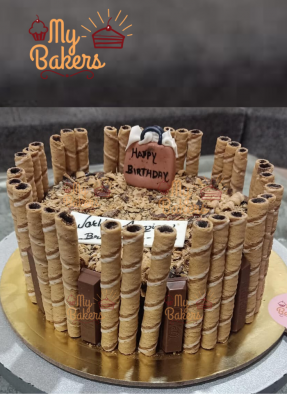 Birthday Cake with Chocolate Sticks