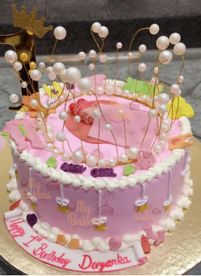 1st Birthday Celebration Cake For Baby Girl