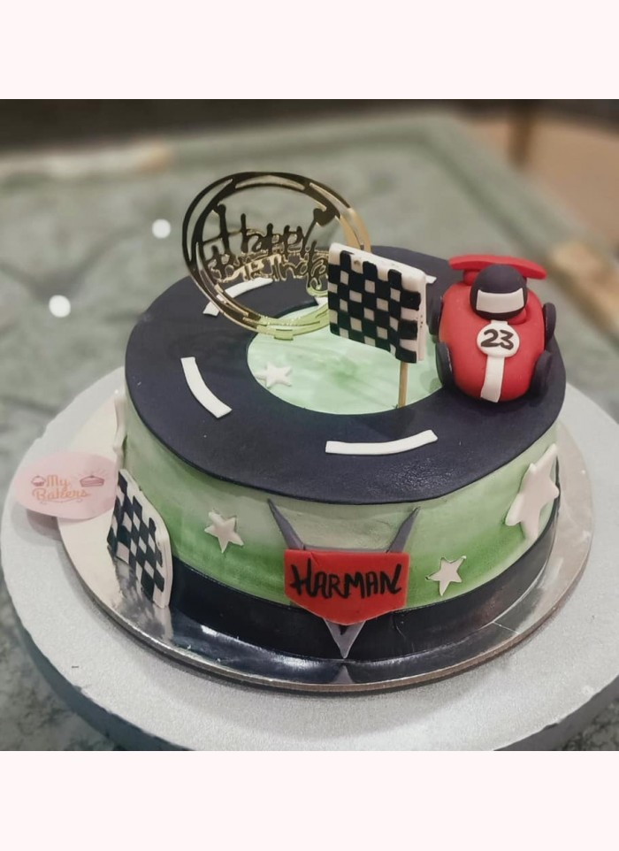 Car Racing Theme Birthday Cake