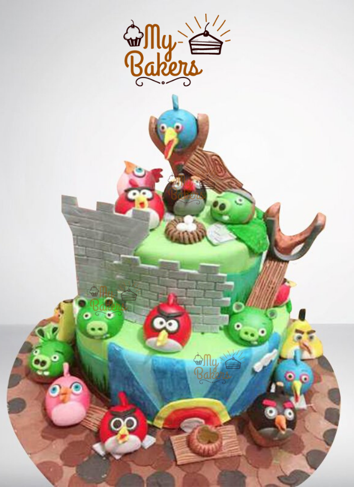 Customized Angry Bird Theme Cake