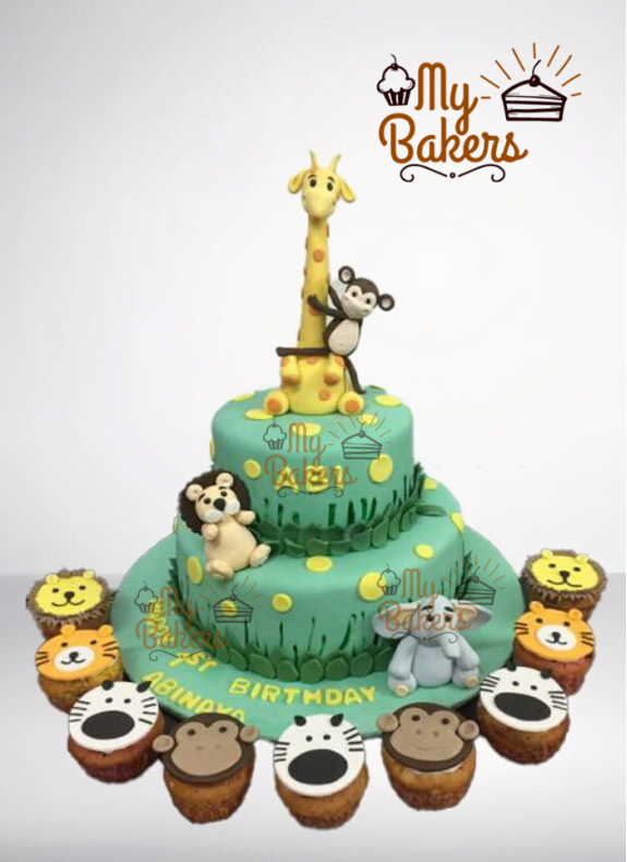 Cute Animals Theme Cake With Cupcakes