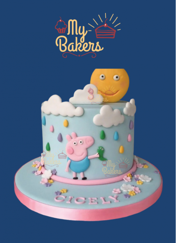 Delicious Peppa Pig Theme Cake