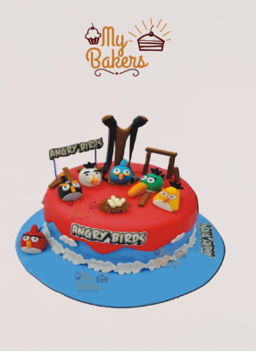 Delish Angry Bird Theme Cake