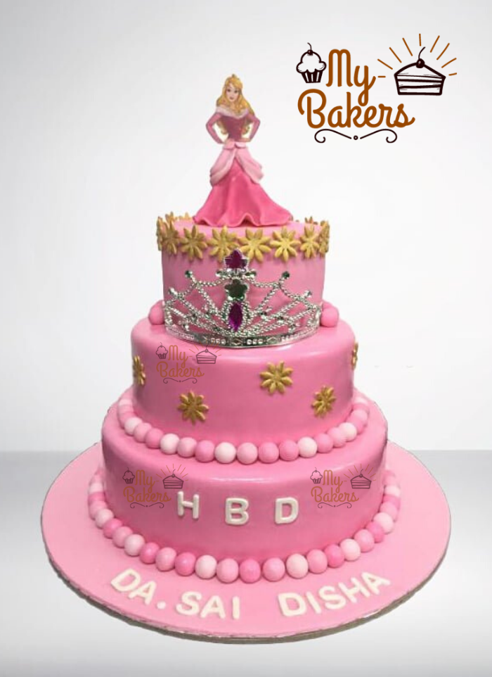 Lovely Pink Princess 3 Tier Cake