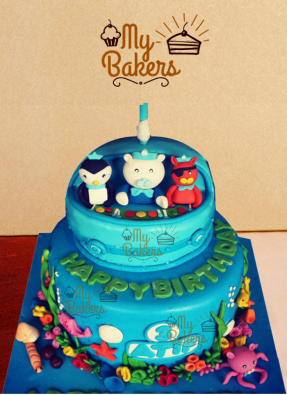 Ocean Creatures Theme Birthday Cake