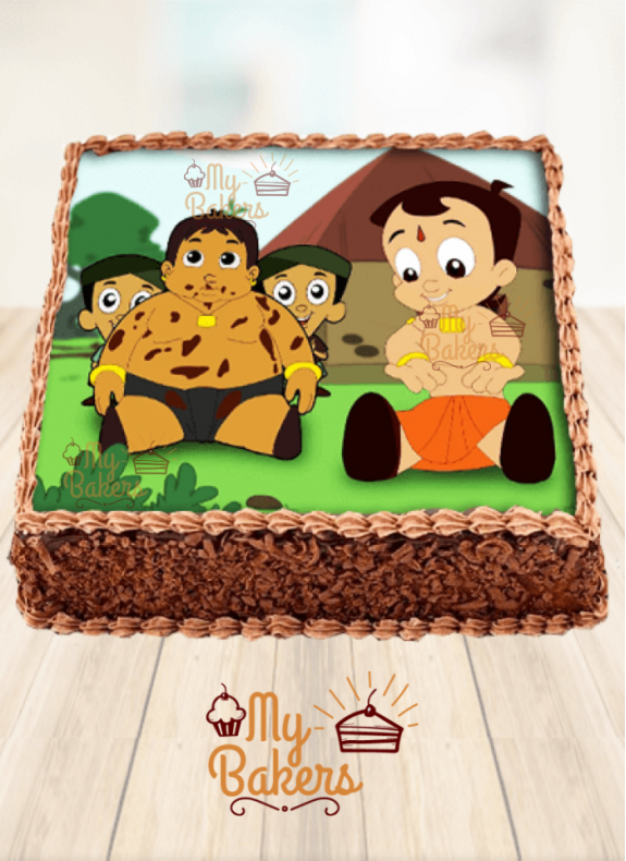 Baby Chotta Bheem & Kalia Theme Photo Cake