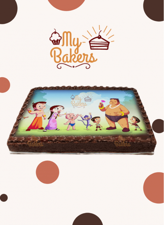 Delicious Chotta Bheem Theme Photo Cake