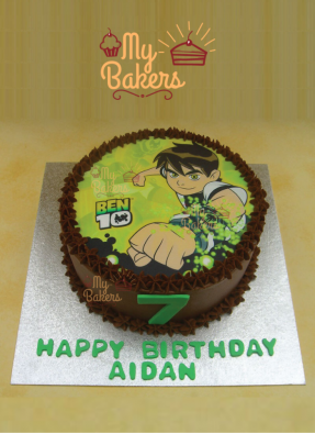 Delightful Ben Ten Theme Photo Cake
