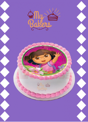 Dora The Explorer Theme Photo Cake