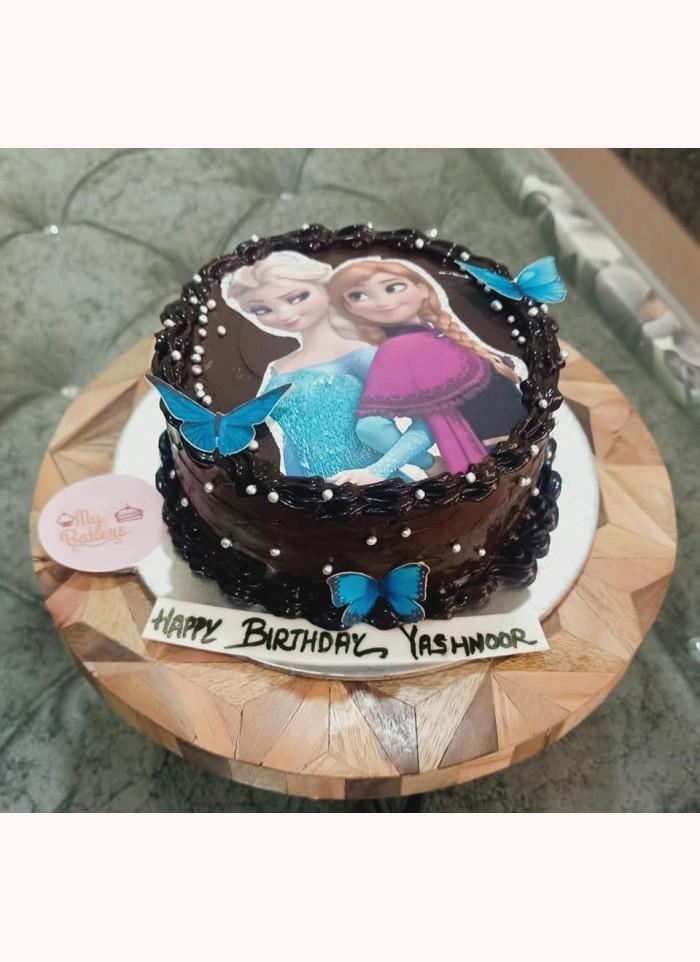 Frozen Theme Photo Chocolate Cake