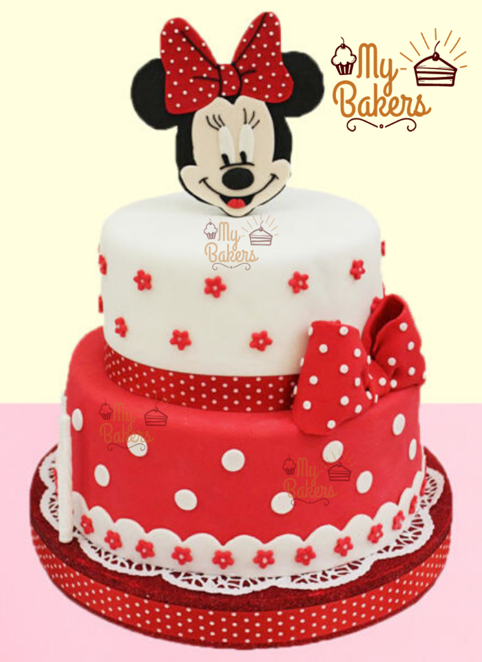 2 Tier Minnie Mouse Theme Cake