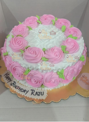 Creamy Rose Flower Cake