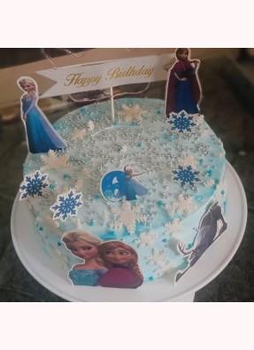Frozen Theme Surprise Birthday Cake