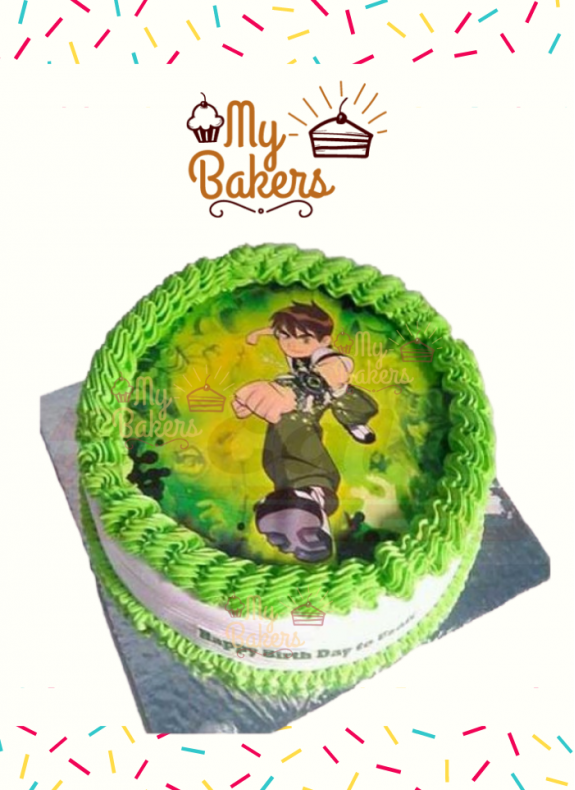 Ben 10 Theme Birthday Photo Cake