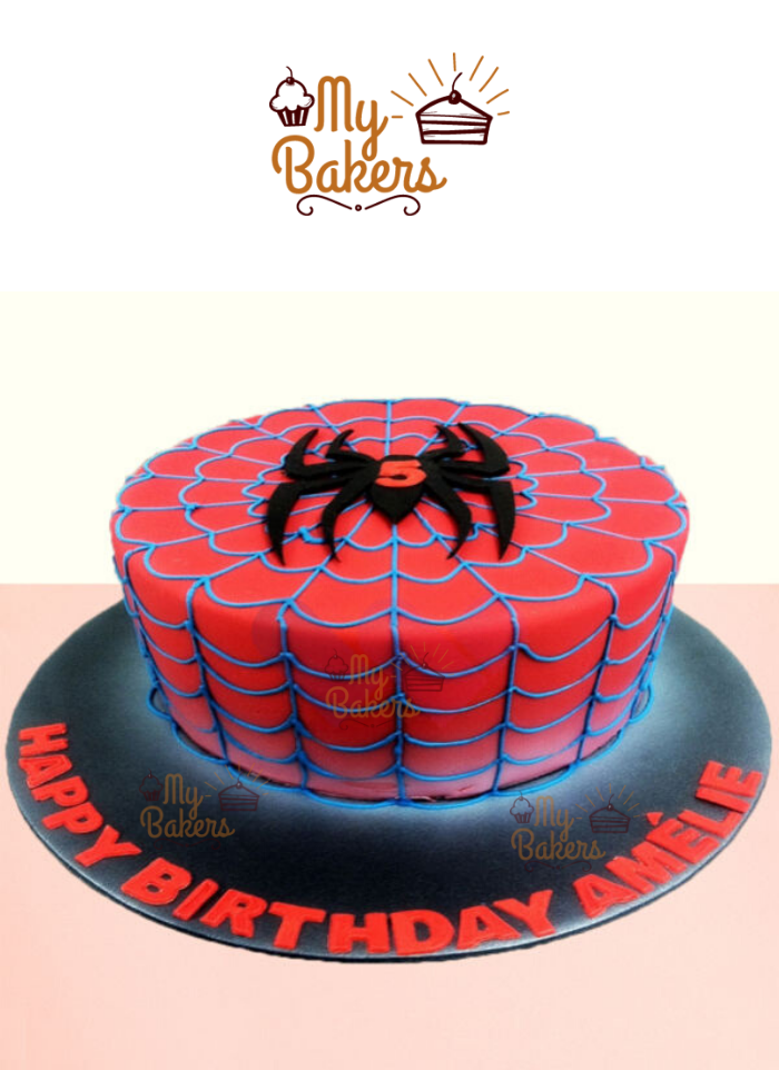 Delish Spiderman Theme Cake