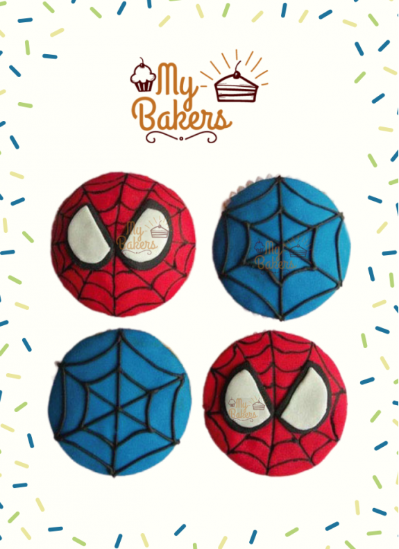 Spiderman Cup Cakes (Pack Of 4)