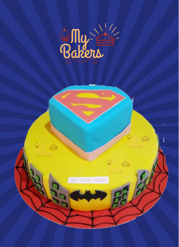 Delish Super Hero Theme Cake