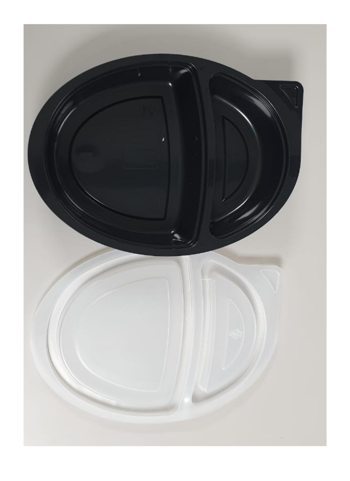 2 CP Oval Tray with lid Black pack of 10