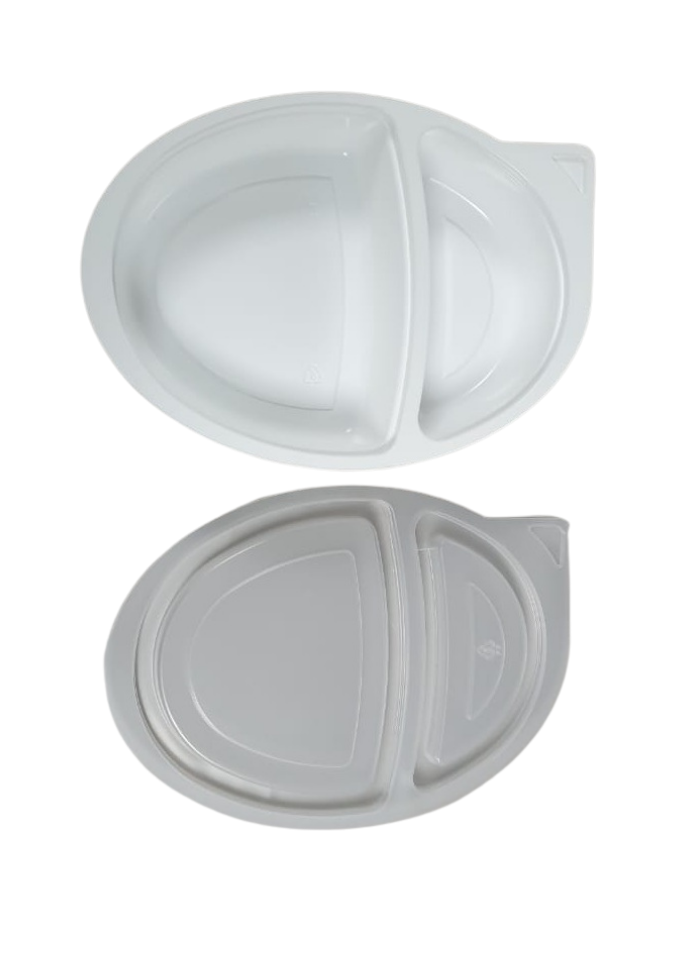 2 CP Oval Tray with lid White pack of 10
