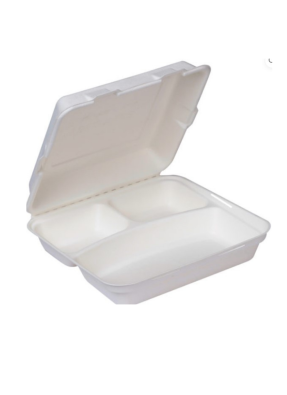 Biodegradable 3 CP Meal tray with lid 10.5 inch pack of 10