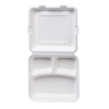Biodegradable 3 CP Meal tray with lid 10.5 inch pack of 50