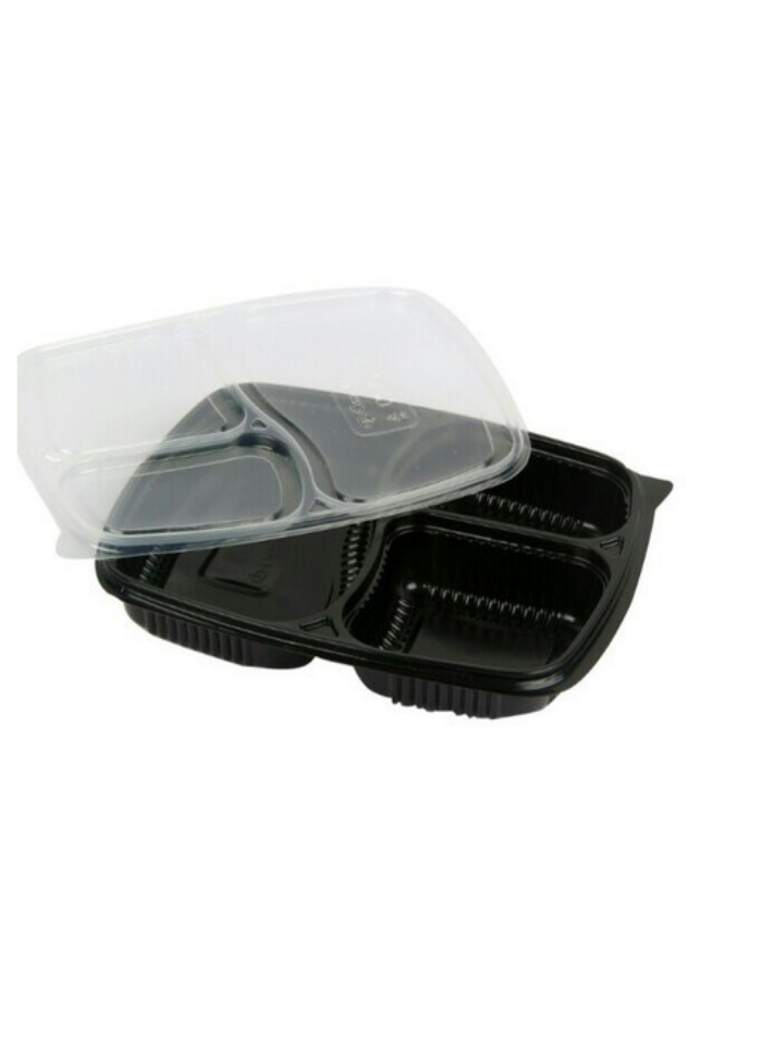 3 CP Mini Meal Tray with lid Black pack of 50