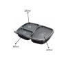 3 CP Meal Tray XL with lid Black pack of 50
