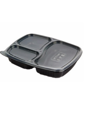 3 CP Meal Tray XL with lid Black pack of 10