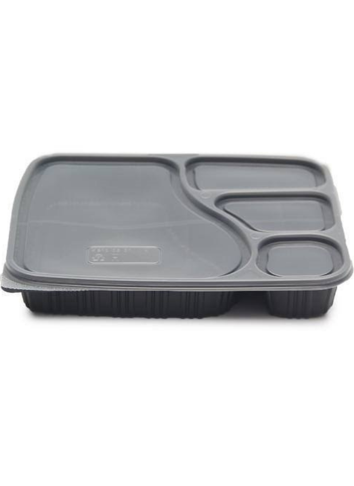 4 CP Meal Tray with lid Black pack of 50