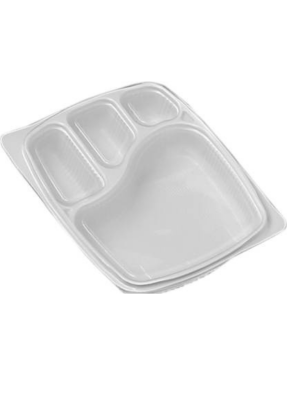 4 CP Meal Tray with lid White pack of 10