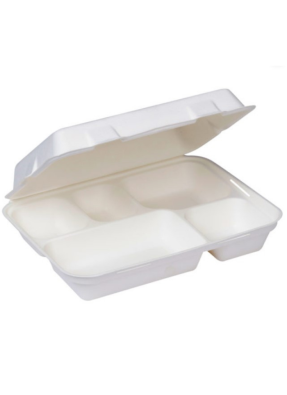 Biodegradable 5 CP Meal tray with lid 11.5 inch pack of 10