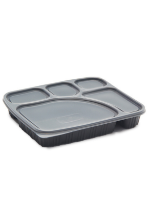 5 CP Meal Tray with lid Black pack of 10