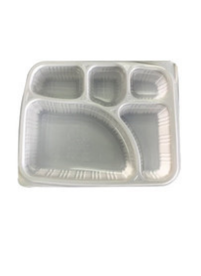 5 CP Meal Tray with lid White pack of 10