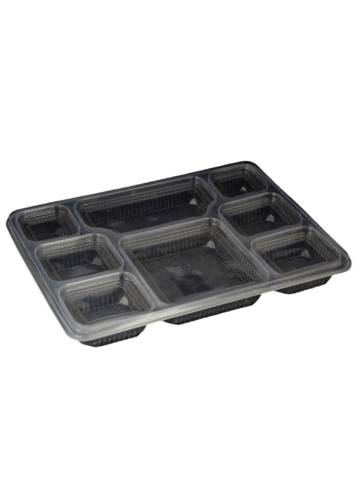 8 CP Meal Tray with lid Black pack of 50