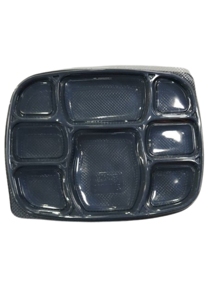 8 CP Deluxe Meal tray with lid Black pack of 50