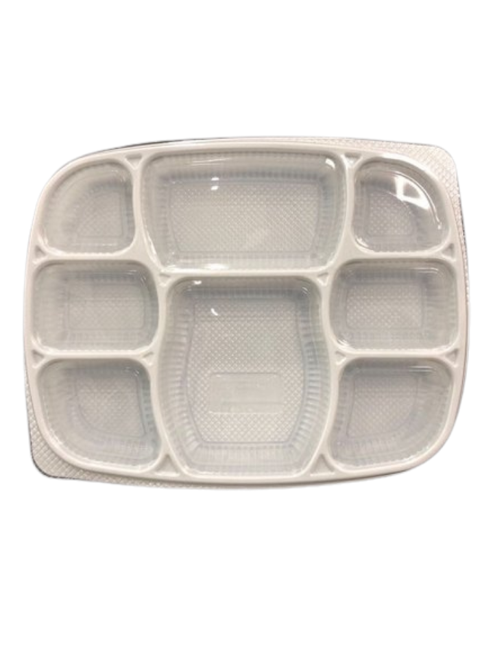 8 CP Deluxe Meal tray with lid White pack of 10