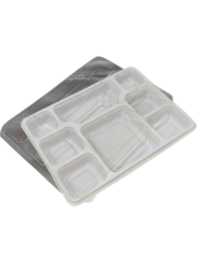 8 CP Meal Tray with lid White pack of 10