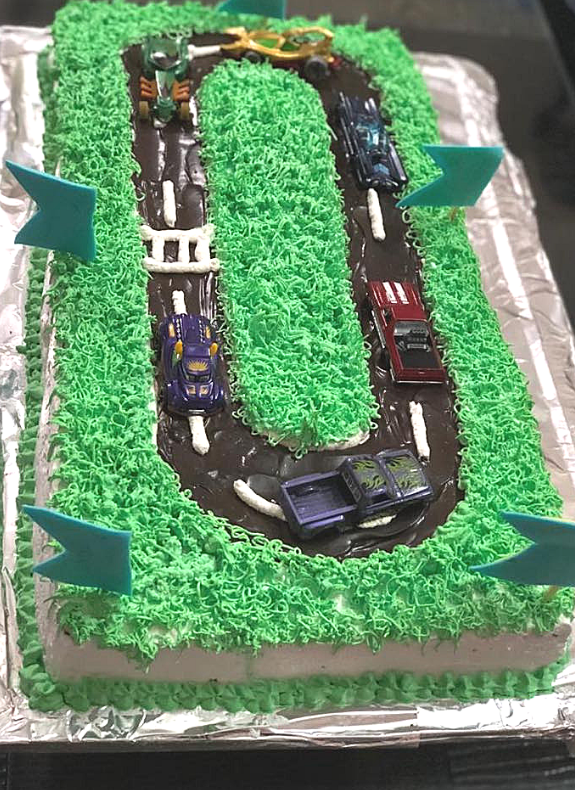 Car Racing Track Kids Cake