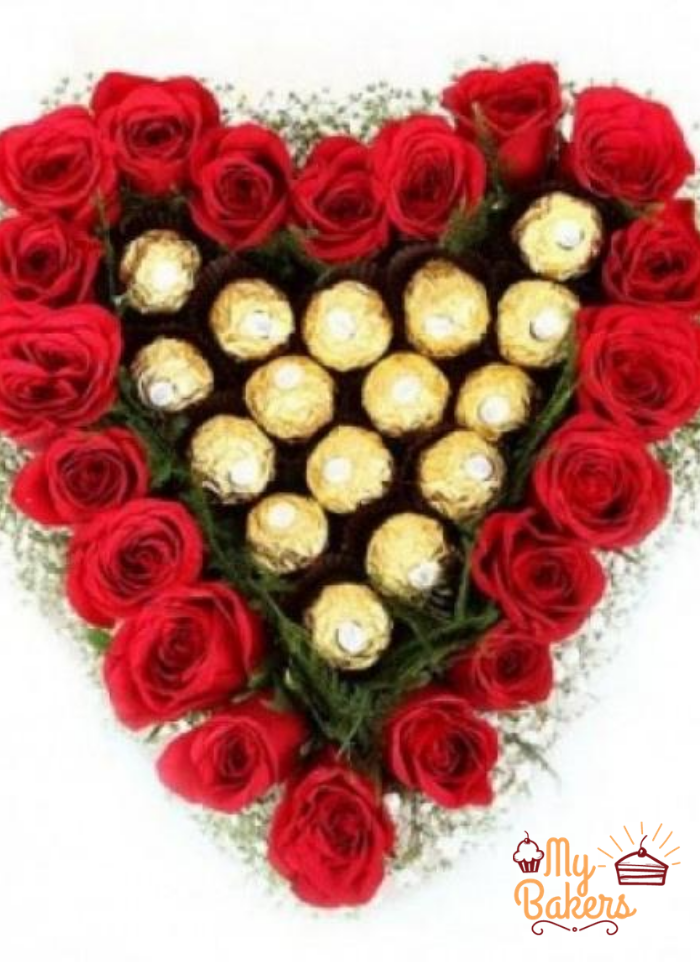Roses And Ferreo Rocher Heart Shaped Bouquet