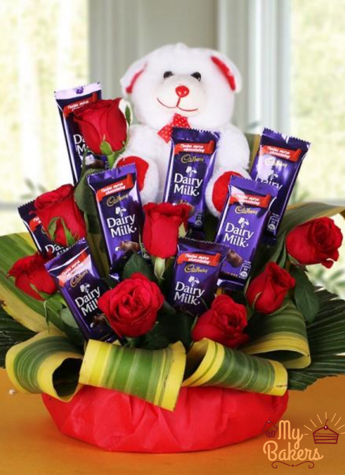 Teddy On Top Chocolate Bouquet