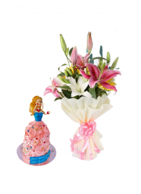 Asiatic Lily Bouquet with Barbie Doll Cake