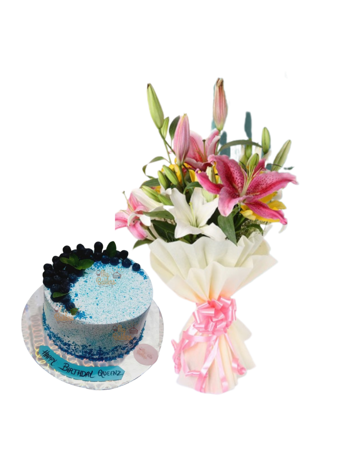 Asiatic Lily Bouquet with Blue Berry Cake