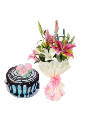 Asiatic Lily Bouquet with Creamy Cake