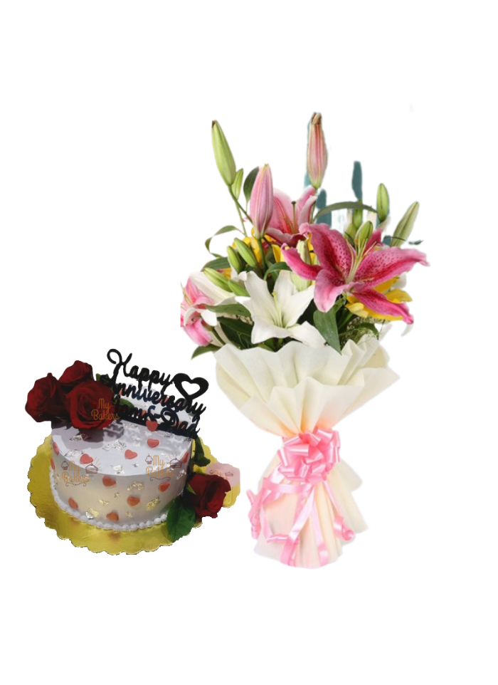 Asiatic Lily Bouquet with Flower Cake