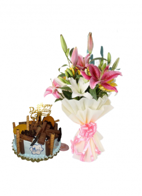 Asiatic Lily Bouquet with Lots of Chocolate Cake