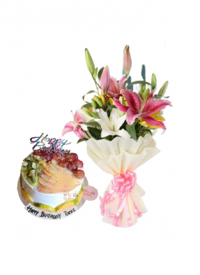 Asiatic Lily Bouquet with Lots of Mix Fruit Cake