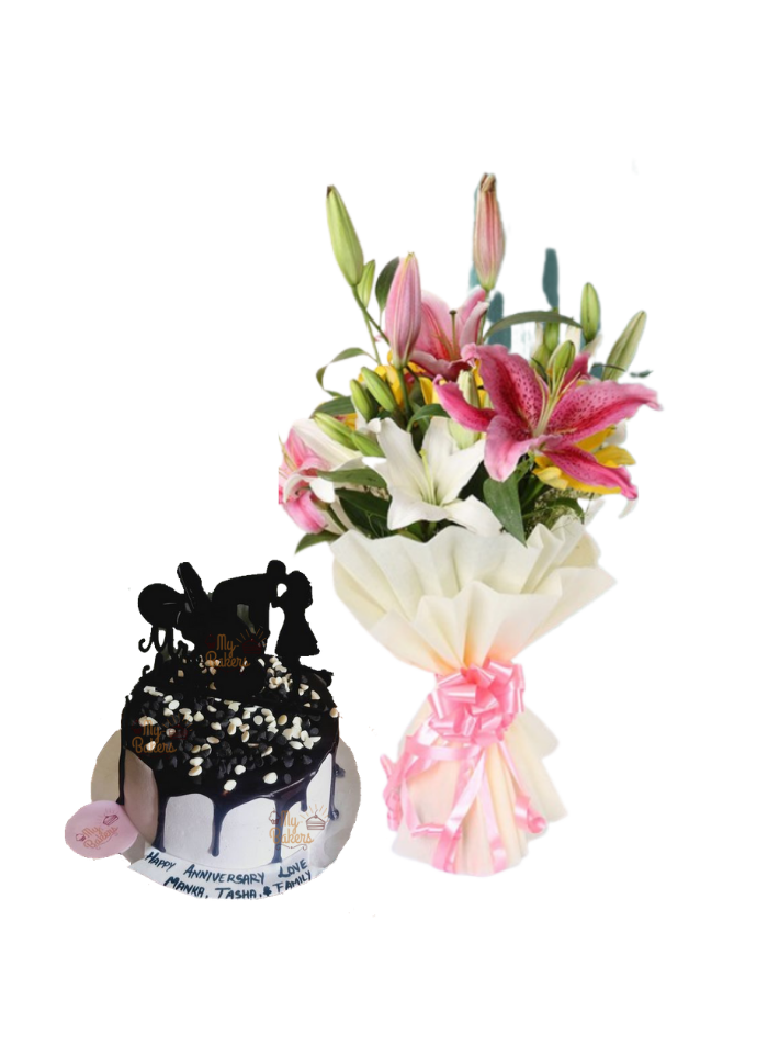 Asiatic Lily Bouquet with Love Chocolate Cake
