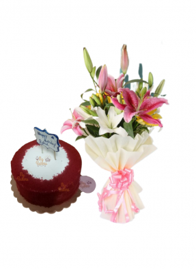 Asiatic Lily Bouquet with Red Velvet Cake