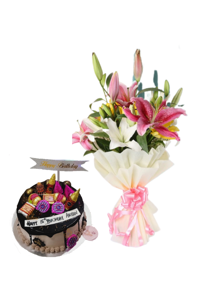 Asiatic Lily Bouquet with Special Birthday Cake