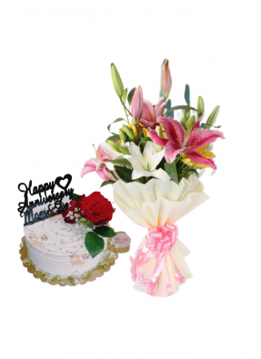 Asiatic Lily Bouquet with Special Flower Cake